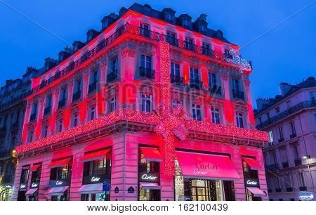 Paris France-December 17 2016 : The Christmas decoration on jewellery boutique Cartier located Champs Elysees avenue in Paris France.