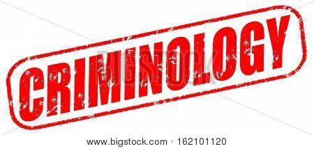 Criminology on the white background, red illustration