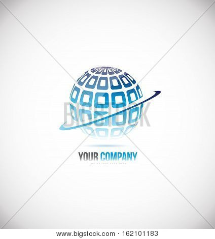 Sphere globe blue 3d vector logo icon sign design template