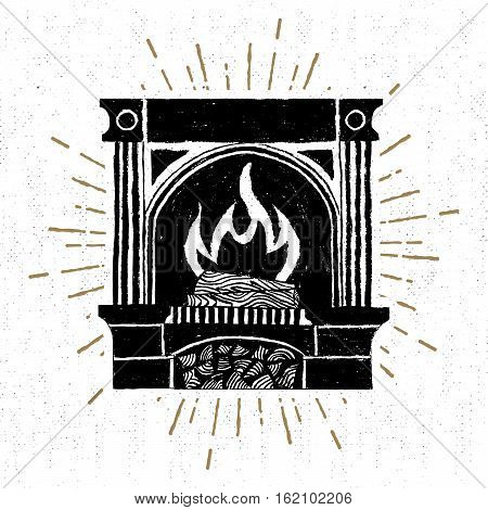 Hand drawn label with textured fireplace vector illustration.