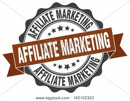 affiliate marketing. stamp. sign. seal. round. retro. ribbon