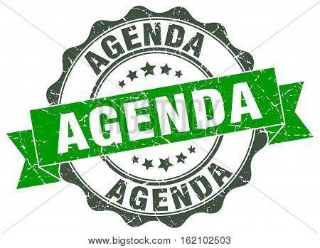 agenda. stamp. sign. seal. round. retro. ribbon