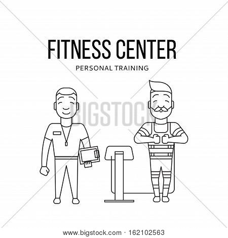 Ems training logo. Electric muscular stimulating fitness. Fitness center banner. Personal trainer and sportsman. Line flat concept. Sports company flyer, sticker. Vector illustration