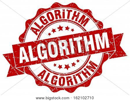algorithm. stamp. sign. seal. round. retro. ribbon