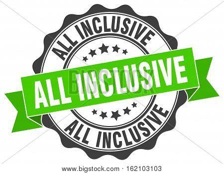 all inclusive. stamp. sign. seal. round. retro. ribbon