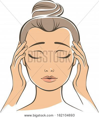 Woman touching her head suffering a painful headache