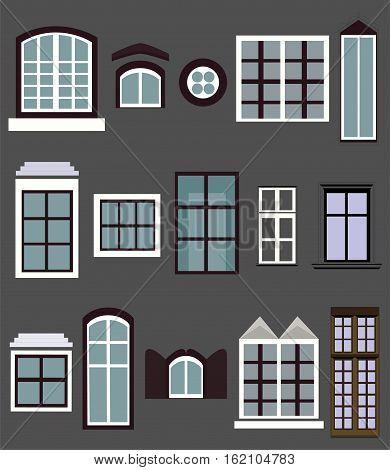 Window windows casement gap house building light different variety set setting collection vector closeup vertical beautiful clip art sign signboard illustration front view isolated gray background