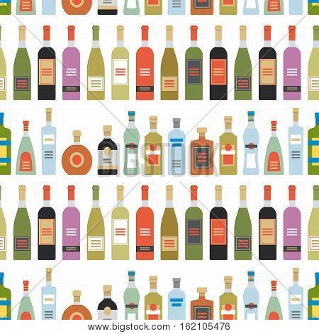 Alcohol drinks seamless pattern. Bottles for restaurants and bars