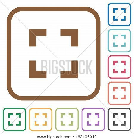 Selector tool simple icons in color rounded square frames on white background