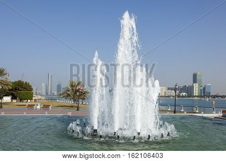 Fountain at the corniche in the city of Abu Dhabi United Arab Emirates