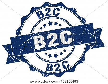 b2c. stamp. sign. seal. round. retro. ribbon