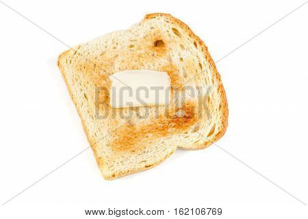 Toasted Whole Grain Bread With A Pat Of Butter Isolated On White Background
