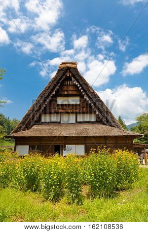 OGIMACI JAPAN - AUGUST 01 2016: Former Nakano Chojiro residence (circa 19th c. rebuilt in early 20th c.) in Ogimachi gassho style village of Shirakawa-go district. World Heritage Site of UNESCO