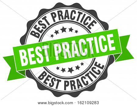 best practice. stamp. sign. seal. round. retro. ribbon