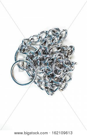 Silver Metal Choke Chain For Dog Isolated On White Background