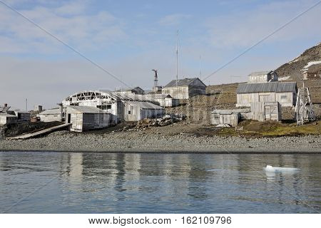 Abandoned polar station 'Tikhaya' in Arctic - Franz josef land, Russia
