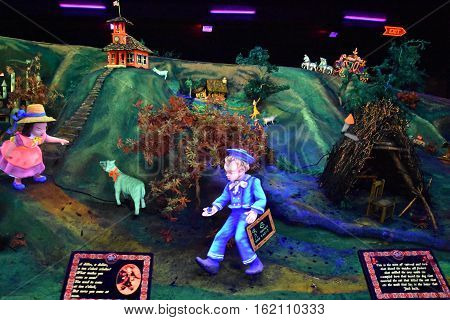CHATTANOOGA, TN - OCT 4: Fairyland Caverns at Rock City Gardens at Lookout Mountain in Chattanooga, Tennessee, as seen on October 4, 2016. The caverns are rock caves decorated with blacklight-responsive sculptures.