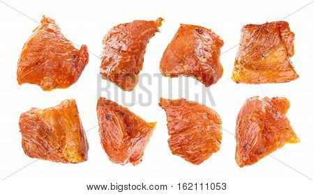 Chunks of raw pork shish kebab isolated on white background, with clipping path