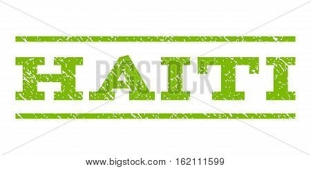 Haiti watermark stamp. Text tag between horizontal parallel lines with grunge design style. Rubber seal stamp with unclean texture. Vector eco green color ink imprint on a white background.