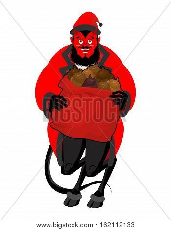 Satan Santa Krampus. Christmas Monster For Bad Children And Bullies. Claus Red Demon With Horns. Fol