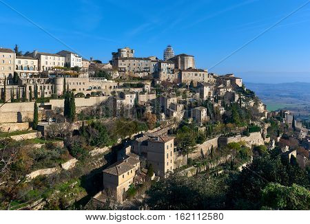 View to the Gordes is a very beautiful hilltop village in France. Provence-Alpes-Cote d'Azur region