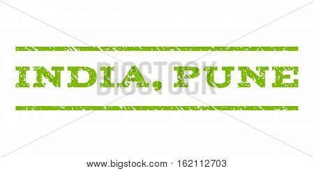 India, Pune watermark stamp. Text caption between horizontal parallel lines with grunge design style. Rubber seal stamp with dirty texture. Vector eco green color ink imprint on a white background.