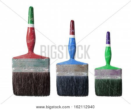 Row of Old Paint Brushes on White Background