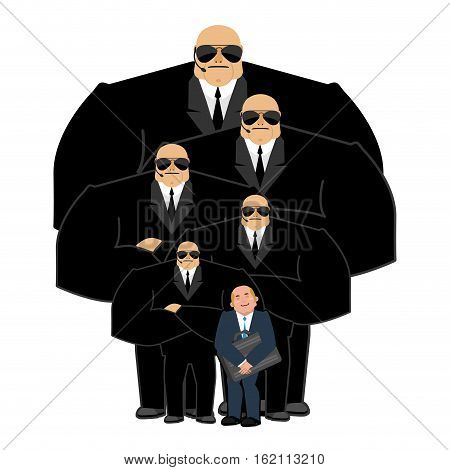 Businessman With Bodyguards. Vip Protection. Black Suit And Hands-free. Strong Security On White Bac