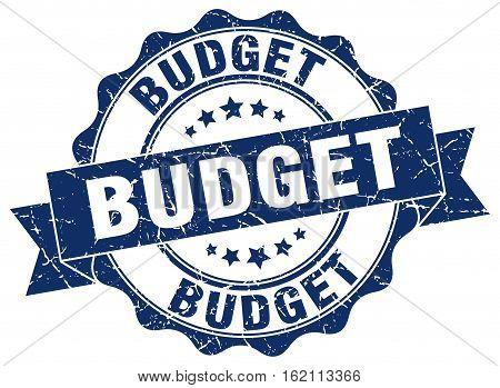 budget. stamp. sign. seal. round. retro. ribbon