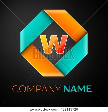 Letter W vector logo symbol in the colorful rhombus on black background. Vector template for your design