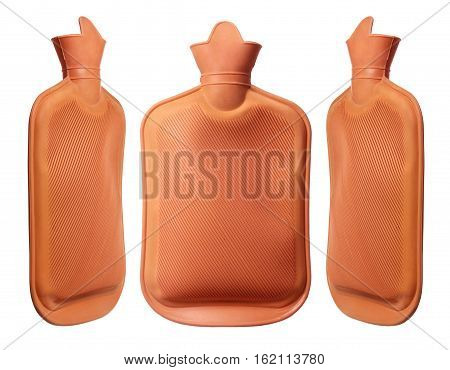 Hot Water Bottles on Isolated White Background