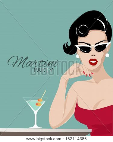 Beautiful Woman With Martini Glass Pop Art Portrait, Summer Look Vector Illustration