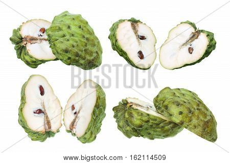 Custard Apples Cut in Halves on White Background