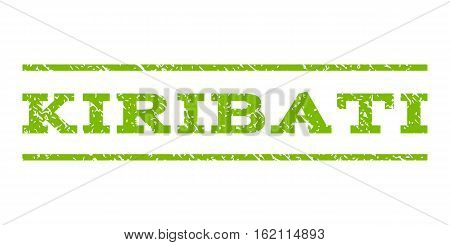 Kiribati watermark stamp. Text tag between horizontal parallel lines with grunge design style. Rubber seal stamp with dirty texture. Vector eco green color ink imprint on a white background.
