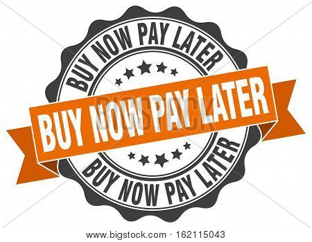 buy now pay later. stamp. sign. seal. round. retro. ribbon