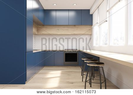 Front View Of Blue Kitchen