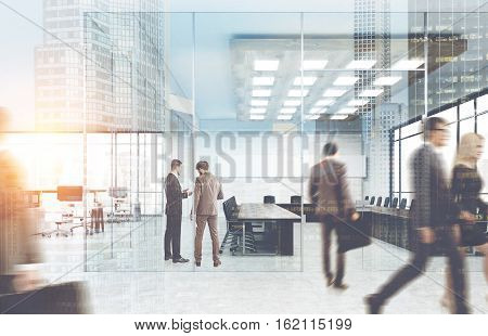 View of business people walking in a glass office. City view is seen on the foreground. Concept of office life. 3d rendering. Toned image. Double exposure