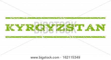 Kyrgyzstan watermark stamp. Text caption between horizontal parallel lines with grunge design style. Rubber seal stamp with unclean texture. Vector eco green color ink imprint on a white background.