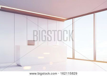 Office With Reception And White Panels, Toned
