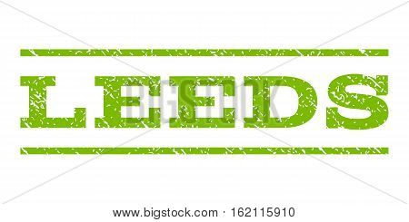 Leeds watermark stamp. Text caption between horizontal parallel lines with grunge design style. Rubber seal stamp with dirty texture. Vector eco green color ink imprint on a white background.