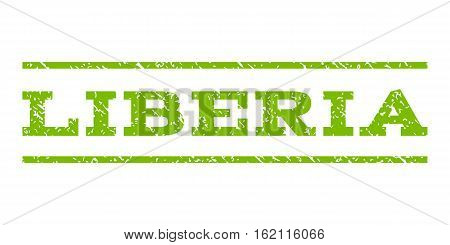 Liberia watermark stamp. Text tag between horizontal parallel lines with grunge design style. Rubber seal stamp with dust texture. Vector eco green color ink imprint on a white background.
