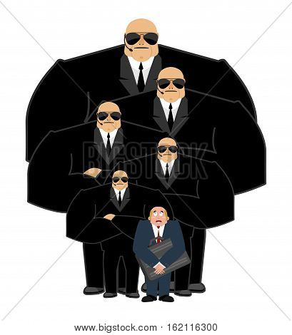 Bodyguard Services And Businessman With Suitcase. Vip Protection. Black Suit And Hands-free. Strong