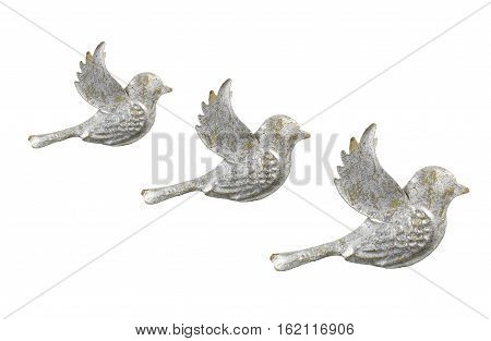 Row of Dove Ornaments on White Background