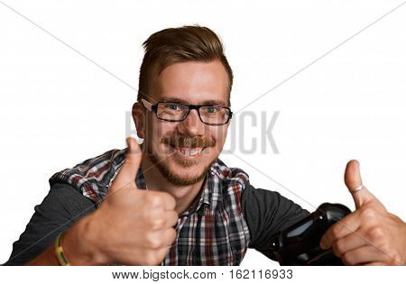 30 years old attractive guy show like and keep joystick in one hand. Happy gamer shot isolated on white background. Handsome european man.