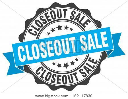 closeout sale. stamp. sign. seal. round. retro. ribbon