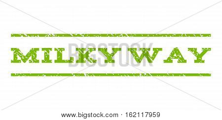 Milky Way watermark stamp. Text tag between horizontal parallel lines with grunge design style. Rubber seal stamp with unclean texture. Vector eco green color ink imprint on a white background.
