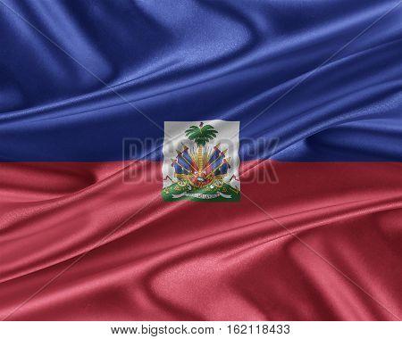 Haiti flag. Flag with a beautiful glossy silk texture. 3D illustration.