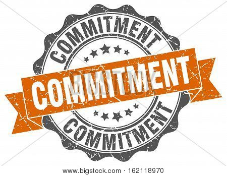 commitment. stamp. sign. seal. round. retro. ribbon