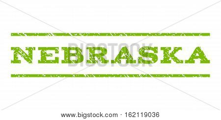 Nebraska watermark stamp. Text tag between horizontal parallel lines with grunge design style. Rubber seal stamp with dust texture. Vector eco green color ink imprint on a white background.