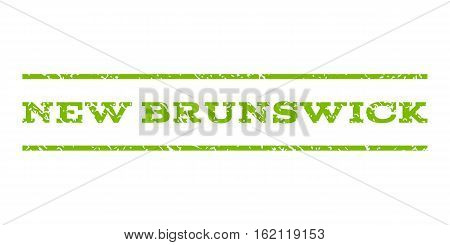 New Brunswick watermark stamp. Text tag between horizontal parallel lines with grunge design style. Rubber seal stamp with dust texture. Vector eco green color ink imprint on a white background.